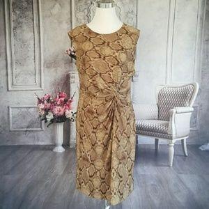 Apt. 9 Women's Dress Brown Tan Snake Pattern Large